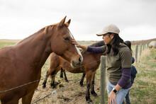 Female Farmer Petting Horse At Paddock Fence On Rural Farm