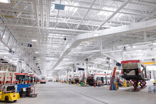 Buses And Equipment In Large Maintenance Facility