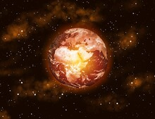 The Globe Is On Fire, Global Warming, The Average Temperature On Earth Is Rising In Space