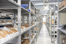 Parts On Shelves In Warehouse