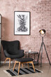 Leinwandbild Motiv Interior of modern room with stylish armchair and folding screen