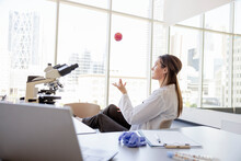 Female Scientist Tossing Stress Ball In Air At Desk In Laboratory