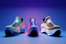 3d Illustration Set Of Three Different Futuristic Sneaker. Colorful Sneakers With Foam Soles And Closure Under Neon Color On A Blue Background. Sneakers Front View. Fashionable Sneakers.