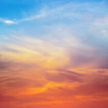Blue And Red Sky Clouds Background.