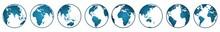 Light Dark Blue Globe. World Globe. Planet Earth. Earth Day. The Earth, World Map On White Background. Vector Illustration. EPS 10