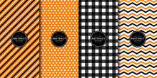 Halloween Digital Paper. Abstract Geometric Buffalo Check And Gingham Pattern Set. Orange, Black, White, Chevrons, Zigzag, Polka Dots, Line Stripes. Endless Texture With Decorative Fabric