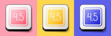 Isometric Film Or Movie Cinematography Rating Or Review Icon Isolated On Pink, Yellow And Blue Background. Square Button. Vector