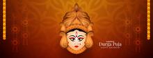 Classic Durga Puja And Navratri Festival Goddess Durga Face Design Banner