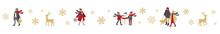 冬の人々とトナカイの罫線のベクターイラスト(背景,X'mas)