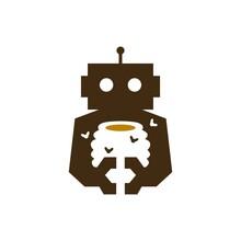 Robot Honey Hive Bee Cyborg Automatic Negative Space Logo Vector Icon Illustration