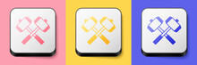 Isometric Medieval Crossed Battle Hammers Icon Isolated On Pink, Yellow And Blue Background. Square Button. Vector