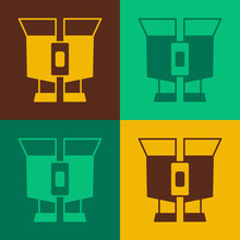 Pop Art Binoculars Icon Isolated On Color Background. Find Software Sign. Spy Equipment Symbol. Vector
