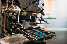 Typesetting Linotype Machine Produced In 1974. Detail. Paper Mill Museum. Famous Landmark, Historical Heritage