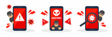 Collection Of System Error Warnings On Smartphones. Emergency Alert Of Threat By Malware, Virus, Trojan, Ransomware, Or Hacker. Creative Cyber Crime Concept. Vector Flat Style Icon Illustration.