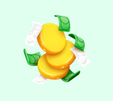 Gold coins with green paper dollars, Cashier's checks. Realistic 3d design in cartoon style. Business financial investment. Creative concept. Trade cash back. Save savings. Vector illustration