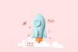 Flying space rocket in space around the planets. Spaceship launch. Rocket 3d icon. Realistic creative conceptual symbols. Logo ship. Launch business product on market. Vector illustration