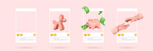 Social Media Set Of Posters Template. Realistic 3d Design. Pink Background. Abstract Creative Concept. Vector Illustration