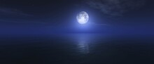 Moon Over Ocean Surface, Night Seascape With Moon,