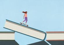 Woman Skateboarding Down Book Cover