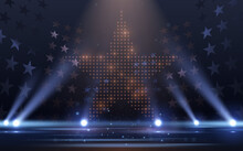 Blue And Gold Lights Stage With Stars