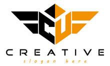 Wings CU Letter Logo With Polygon Shape Logo Design Vector, Business Logo, Icon Shape Logo, Stylish Logo Template
