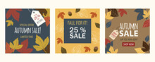 Autumn Season Sales Banners. Set Of Square Offer Leaflets With Fall Leaves, Labels And Discount Texts. Blue, Golden, Brown, Orange And Red Tones. Maple Leaf Backgrounds. Vectorized And Flat Design.