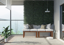 3D Rendering : Illustration Of Living Room Area Semi-outdoor. Living Room Zone Of Home. Big Glass Window And Light Shining Into The Room. Wild Forest View. High Rise Residence.