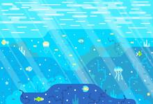 Seabed, Fish And Algae. Vector Cartoon Illustration In Flat Stile