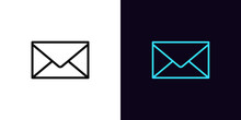 Outline Mail Envelope Icon, With Editable Stroke. Online Message Sign, Incoming Email Pictogram