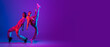 Flyer. Two dancers, young man and woman dancing hip-hop in casual sports youth clothes on gradient purple pink background at dance hall in neon light.