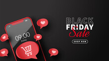 Black Friday Sale With Smartphone And Buuble Bok With Love Illustration