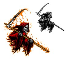 Grim Reaper Tattoo, Scary Death Or Demon Monster With Scythe Blade, Vector. Death Skull Or Skeleton Ghost With Scythe In Fire Flames, Gothic Horror Devil Face With Red Eyes For Tattoo