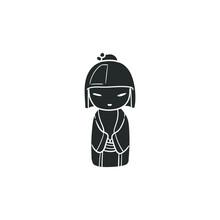 Geisha Kawaii Icon Silhouette Illustration. Japanese Souvenir Vector Graphic Pictogram Symbol Clip Art. Doodle Sketch Black Sign.