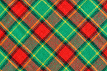 Beautiful Woolen Scottish Fabric With Red And Green Checks