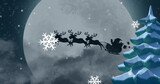 Image of winter scenery with santa claus in sleigh being pulled by reindeers