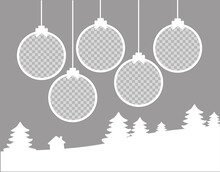 Christmas Round Photo Frames Composition. Horizontal Template With 5 Photos With Christmas Balls, Trees And A House. Mockup On Gray Background. Holiday Collage. Vector EPS10.