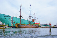 The Replica Of Medieval Warship In Front Of The Science Center Nemo, Amsterdam, The Netherlands