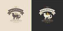 Fox Wild Animal Logo Emblem Vector Illustration Silhouette For Shirt Or Print Stamp
