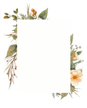 Floral Frame. Autumn Style Flowers, Fern, Grass And Herbs. Invitation Card Design