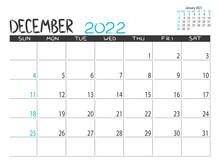 Calendar 2022 Year. December 2022 Planner.Desctop Calendar Design. Month Planner. Grunge Trendy Background. Life Or Business Planner. Place For Notes. Printable Template.
