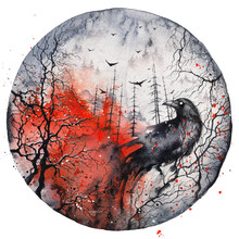 Forest In Fire And Raven. Scary Gothic Red And Black Watercolor Illustration. Halloween Poster, Wall Art Print