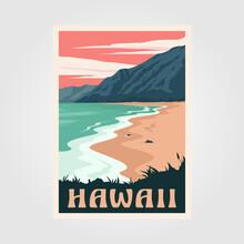 Hawaii Beach Vintage Poster Art Illustration Design, Adventure Ocean Poster