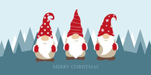 Three Cute Christmas Gnomes With Funny Caps