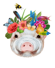 Portrait Of Piggy With A Floral Crown.  Flora And Fauna. Hand-drawn Illustration, Digitally Colored.