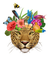 Portrait Of Leopard With A Floral Crown.  Flora And Fauna. Hand-drawn Illustration, Digitally Colored.