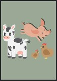 Digitally generated image of cow, pig and chicken icons on green background