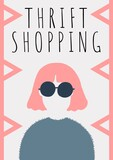 Thrift stopping text over woman wearing sunglasses icon against white background