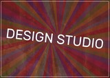 Digitally generated image of design studio text over colorful radial background