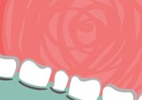 Digitally generated image of teeth icons against textured orange background