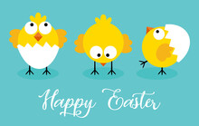 Happy Easter Card With Three Little Chicks
